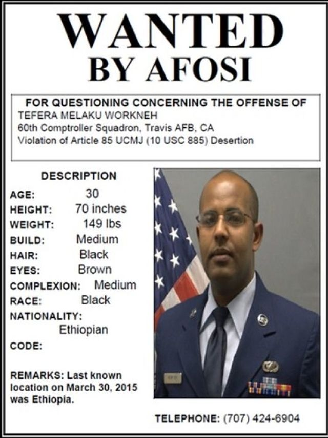 US Air Force Says Looking for Alleged Deserter in Ethiopia
