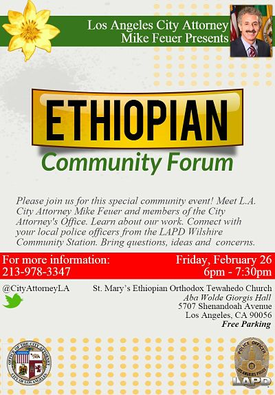 L A  City Attorney Mike Feuer to Host Ethiopian Community
