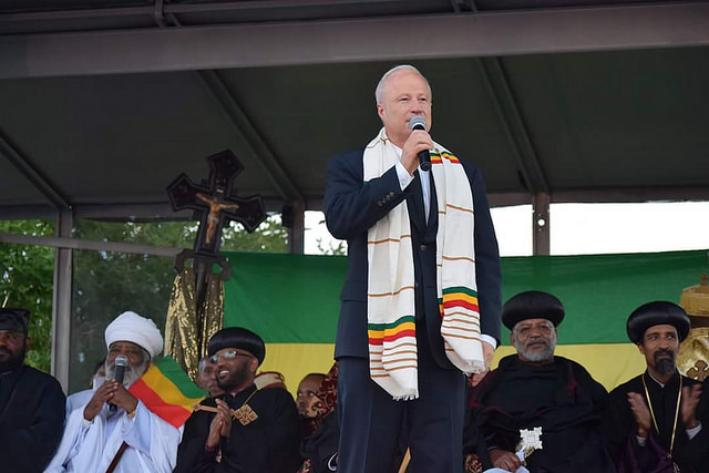 U.S. Congressman Mike Coffman speaks at St. Mary's Ethiopian Orthodox  Tewahedo Church in Denver, Colorado during Meskel celebration on October 1,  2016.