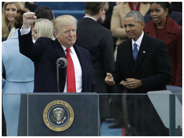 President Donald Trump waves after being sworn in as the 45th president of  the United States during the 58th Presidential Inauguration at the U.S.  Capitol ...