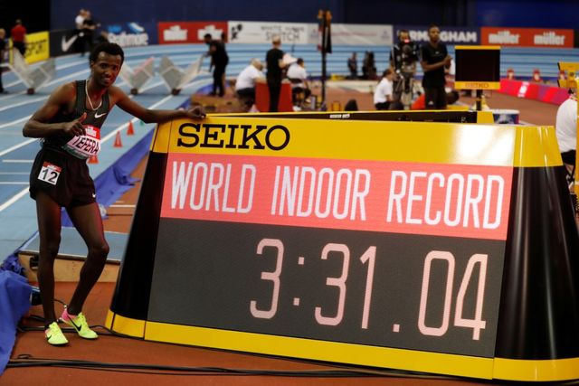 2e3c4fe8e3 Ethiopia's Samuel Tefera poses with his world record time after winning the  1,500m final at the indoor athletics Grand Prix at Arena Birmingham.